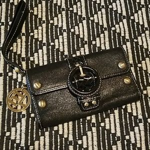 Elliott Lucca Black Leather Wristlet Wallet Clutch